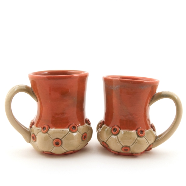 Tall Lobster/Green Stitched Tufted Mugs